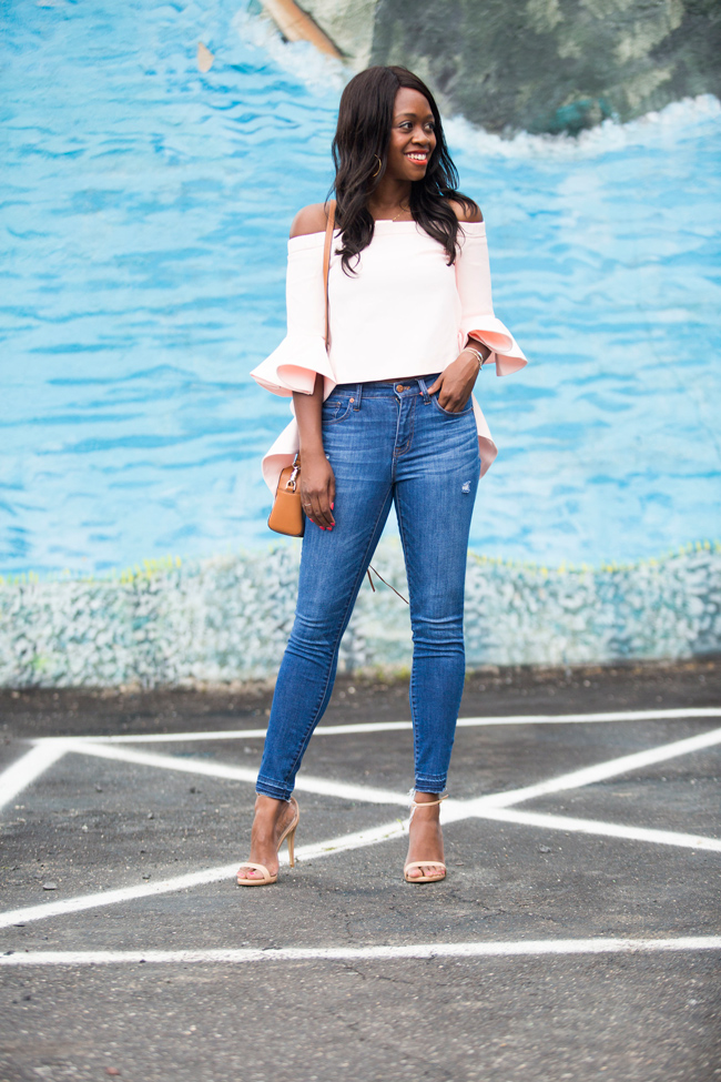 Chicwish Ethereal Frilling Off-shoulder Top in Pink, Steve Madden Stecy Heel