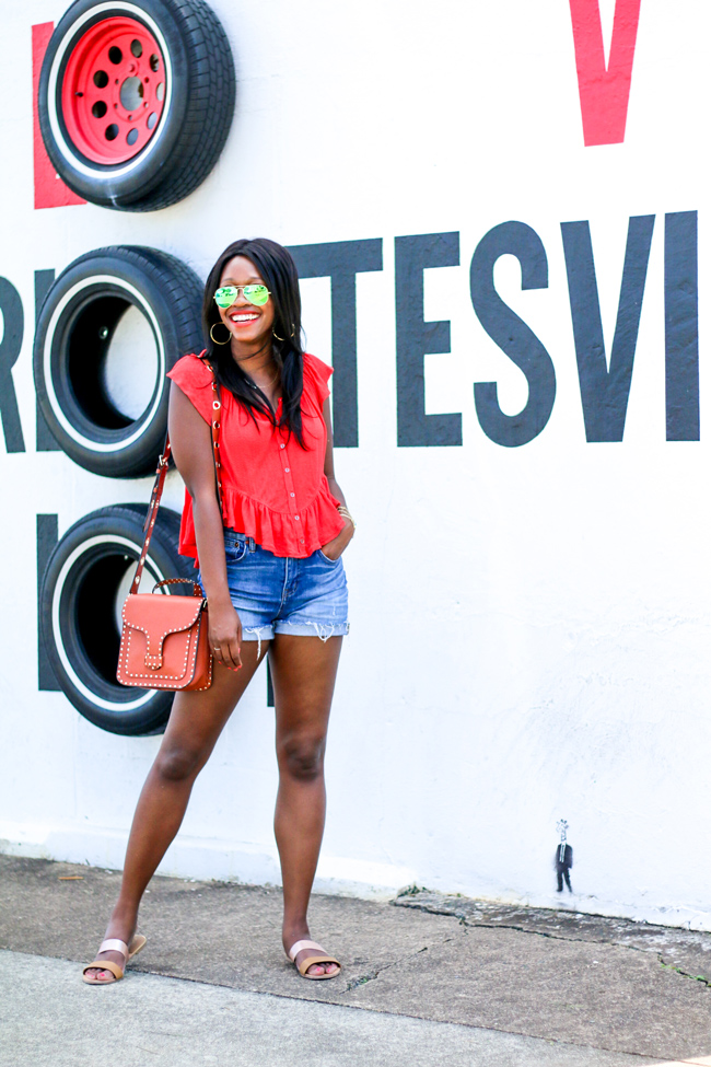 Free People Ruffle Tee, Madewell Boyshort, Rebecca Minkoff Midnighter Top Handle Bag