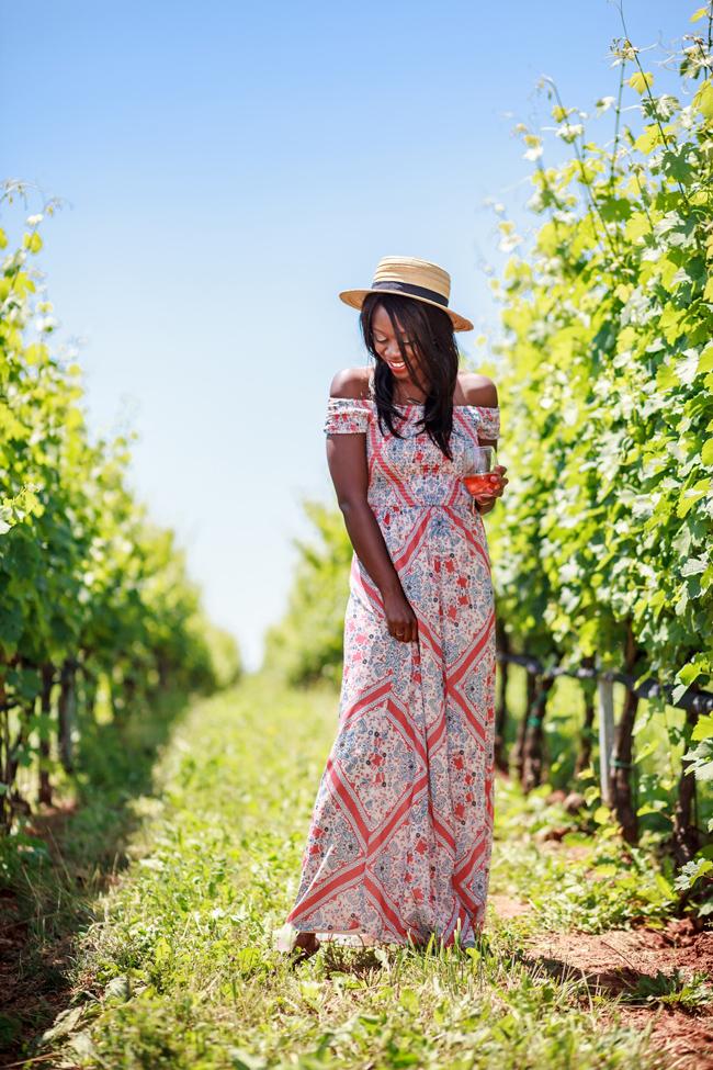 Philadelphia Style Blogger Alicia Tenise styles the Tularosa Paisley Henderson Maxi Dress at Early Mountain Vineyards