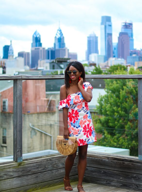 Blogger Alicia Tenise styles the ASTR Floral One Shoulder Dress from South Moon Under