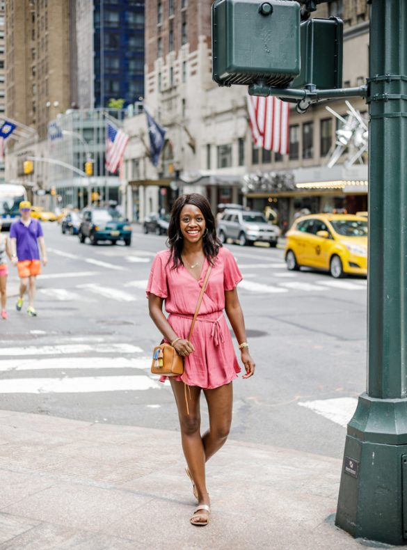 Blogger Alicia Tenise styles the ASTR Satin Ruffle Hem Romper from the 2017 Nordstrom Anniversary Sale