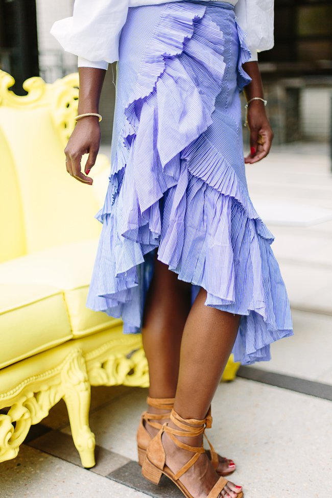Striped Ruffle Hem Skirt
