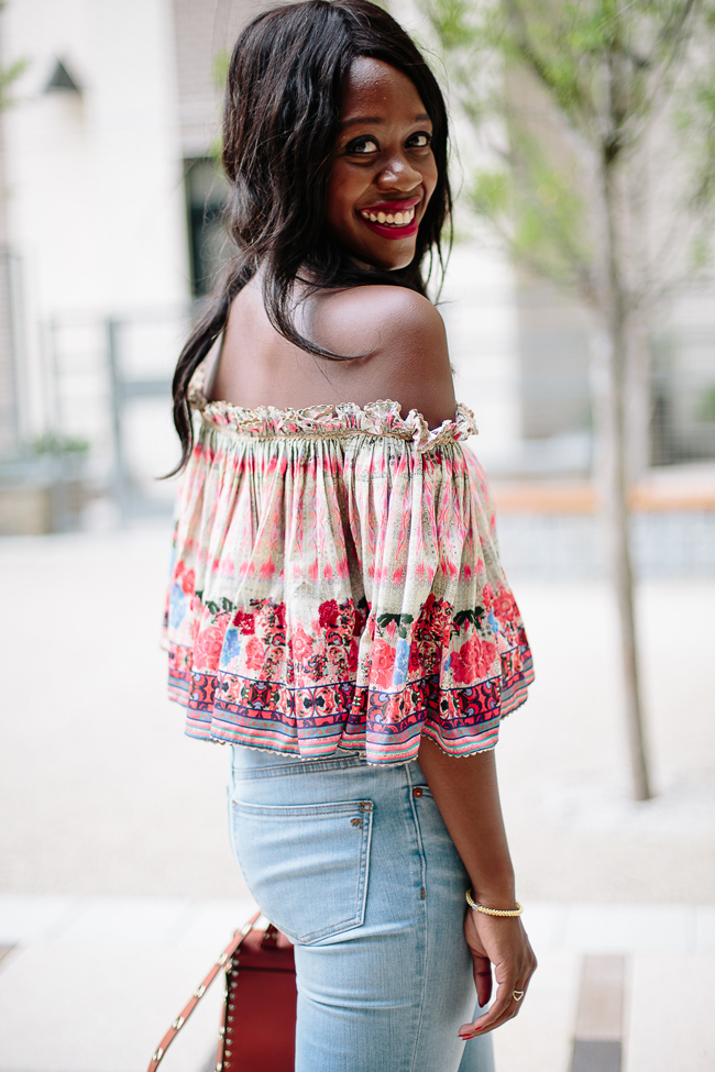 Printed Off the Shoulder Top for Summer, Philadelphia Fashion Blogger