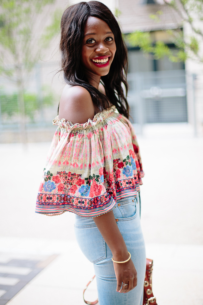 Anthropologie Villa Midi Top, Printed Off the Shoulder Top for Summer
