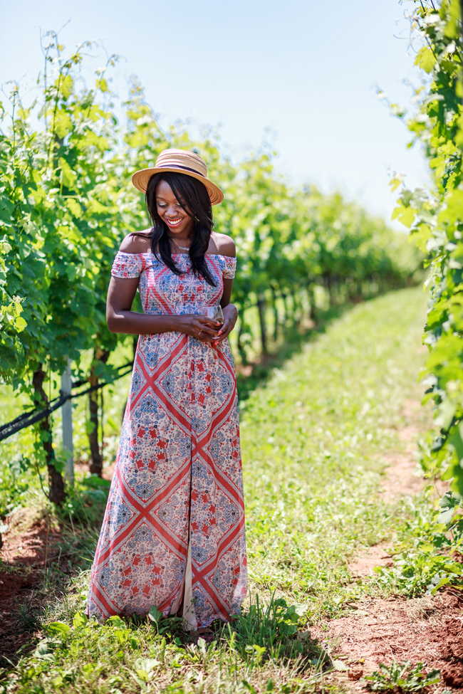 Blogger Alicia Tenise styles the Tularosa Henderson Maxi Dress at Early Mountain Vineyards