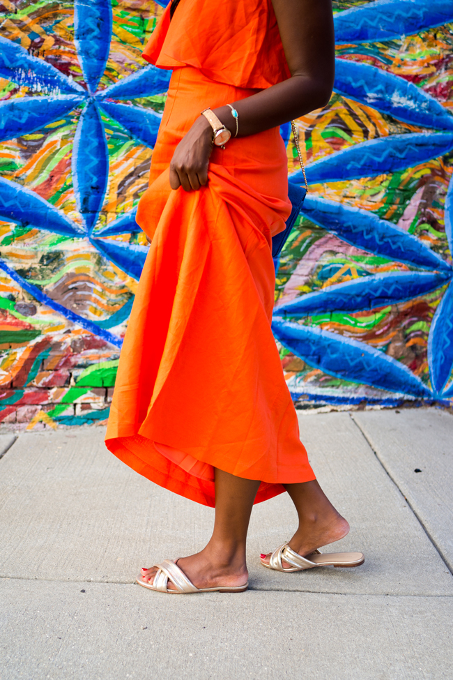 2f9cd1d3090 Orange Tiered Maxi Dress for Summer. Philly Mural Project