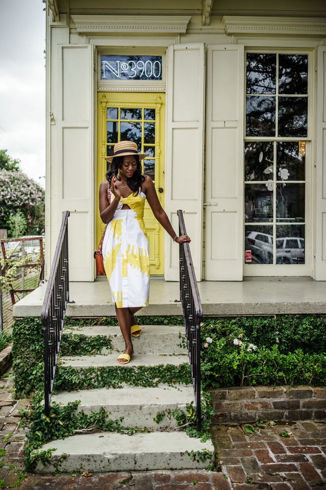 Blogger Alicia Tenise styles the Milly Yellow Printed Jordan Dress from Rent the Runway