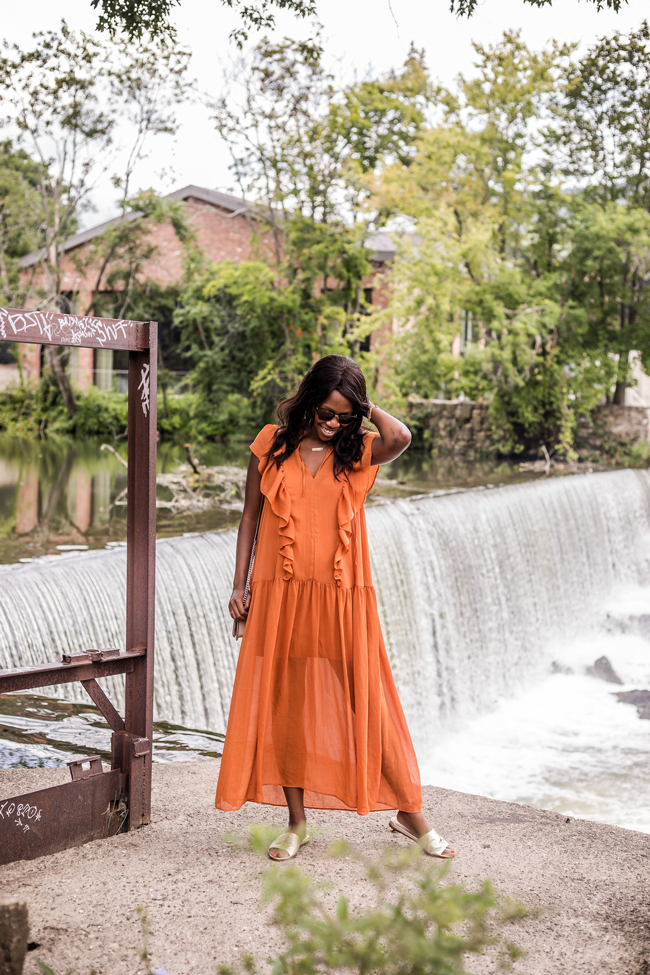 And Other Stories Oversized Frill Dress, Ruffle Midi Dress in Mustard Yellow, Beacon Falls New York