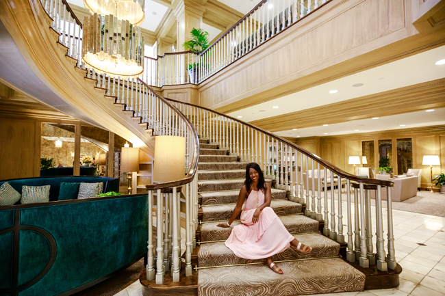 Grand Staircase at the Royal Sonesta Inner Harbor, Pink Maxi Dress for Summer