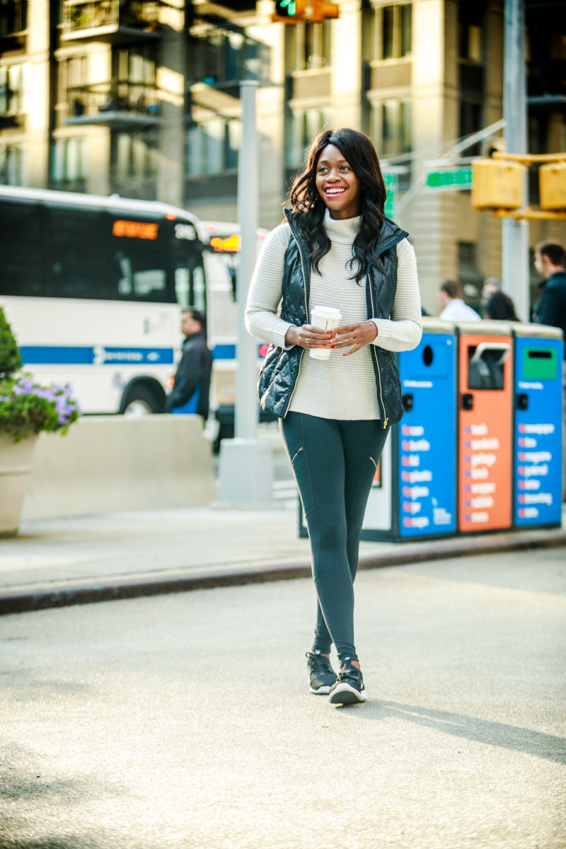 Blogger Alicia Tenise styles the Athleta Responsible Down Vest and Merino Funnel sweater.