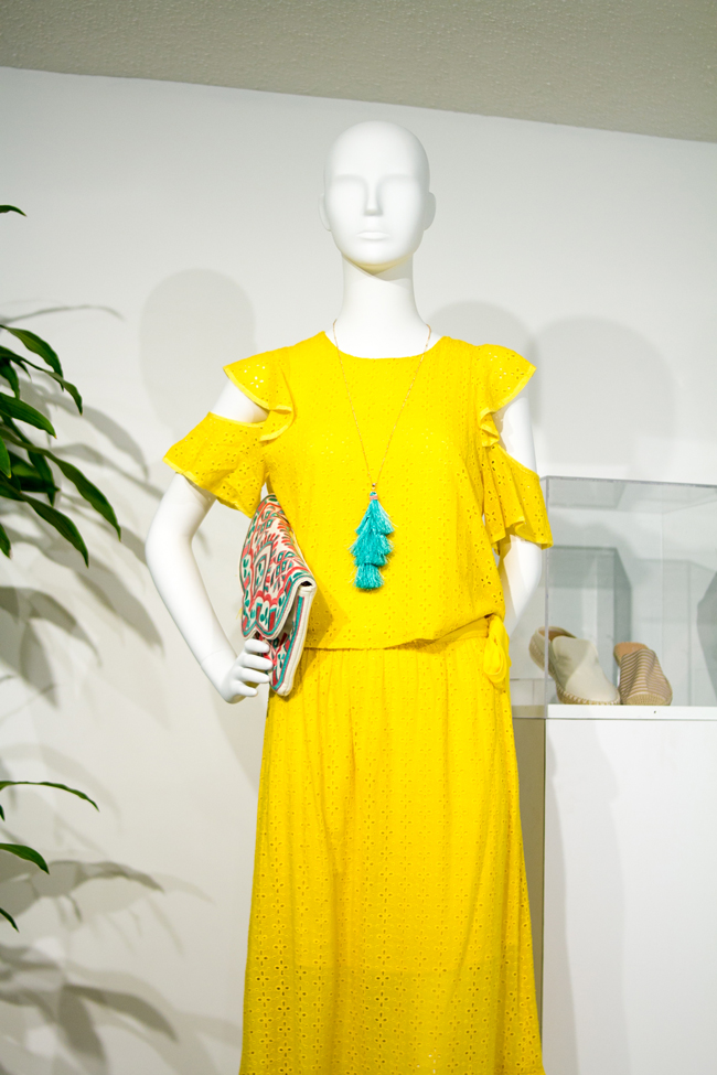 Yellow Perforated Laser Cut Cold Shoulder Dress for Spring - AmericaSmart by Washington DC fashion blogger Alicia Tenise