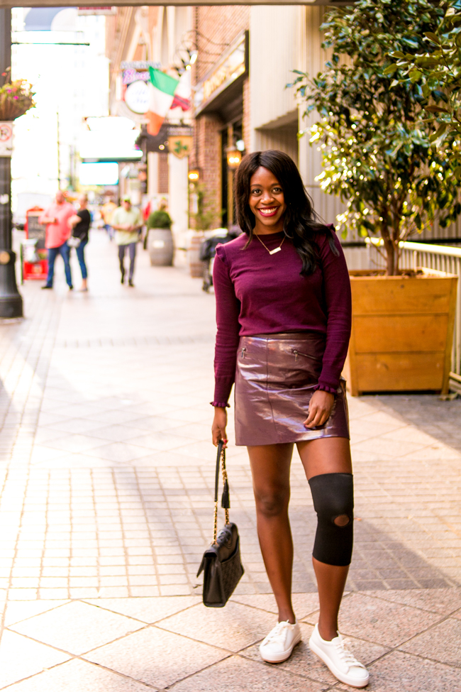 Oasis Patent Mini Skirt in Burgundy, Oxblood Color Trend for Fall, Monochromatic Outfit Ideas - AmericaSmart by Washington DC fashion blogger Alicia Tenise