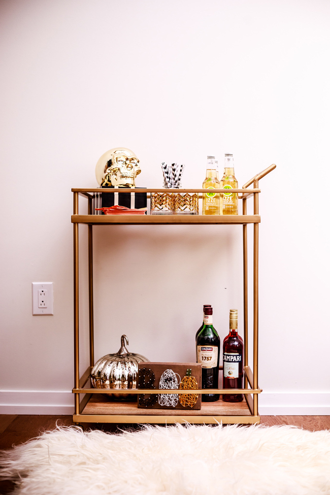 Halloween Bar Cart - Last Minute Halloween Entertaining Ideas by Washington DC style blogger Alicia Tenise