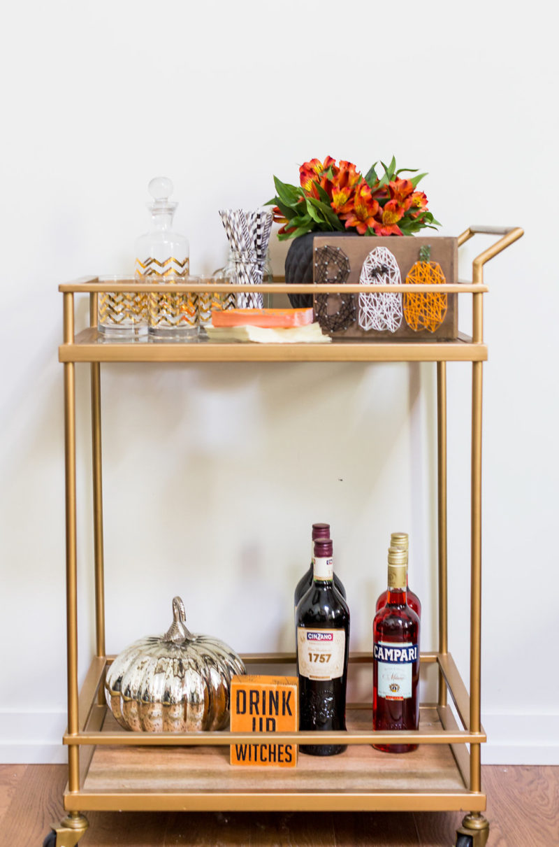Halloween Bar Cart - Frightful Halloween Decorations Ideas: How to Decorate Your Apartment for Halloween by Washington DC style blogger Alicia Tenise