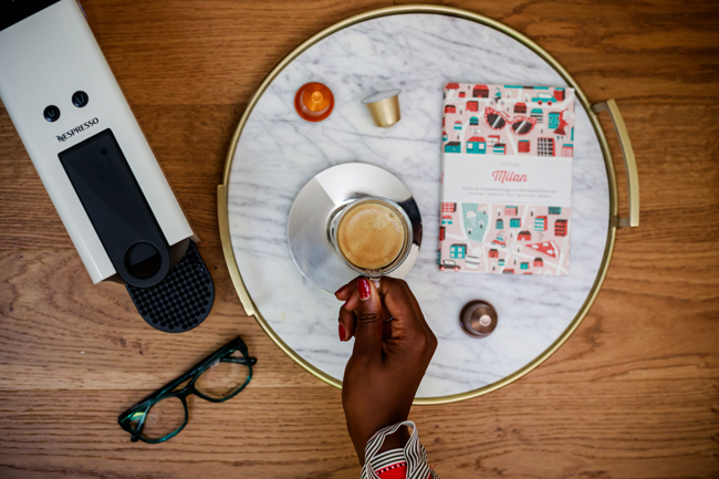 Nespreesso Essenza Mini Espresso Machine, Gold and Marble Tray, Blogger Flatlay - Coffee Talk: Why I'm Happy with My Single Life for 4 Years by popular Washington DC blogger Alicia Tenise