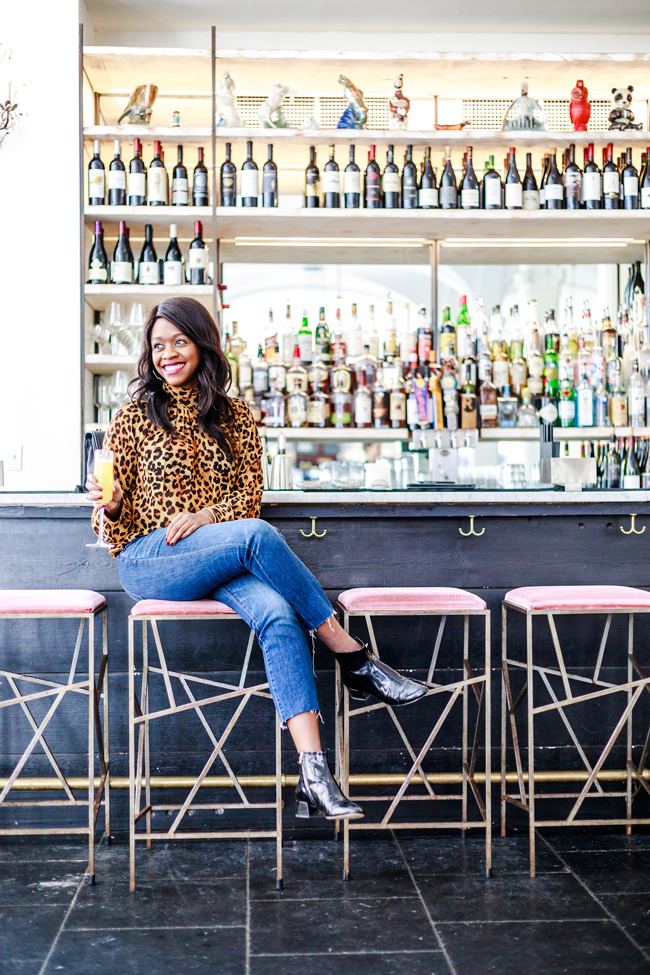 Madewell Slim Boyjean Raw Hem Edition, Dolce Vita Jac Booties - Why You Need A Statement Top: The Leopard Blouse by Washington DC fashion blogger Alicia Tenise