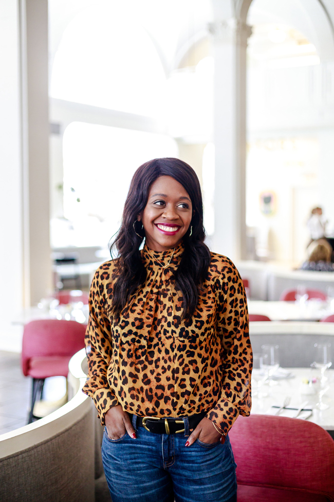 ASOS Animal Print High Neck Blouse - Why You Need A Statement Top: The Leopard Blouse by Washington DC fashion blogger Alicia Tenise