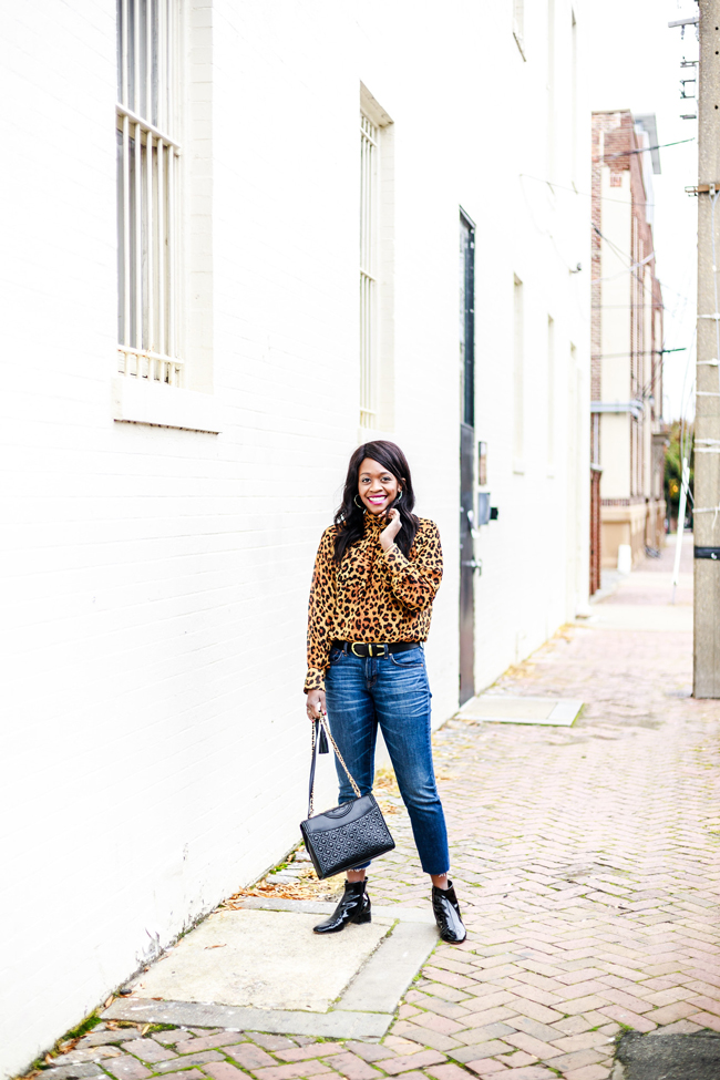 Leopard Print Top, High Waisted Cropped Raw Hem Denim, Patent Leather Booties - Why You Need A Statement Top: The Leopard Blouse by Washington DC fashion blogger Alicia Tenise