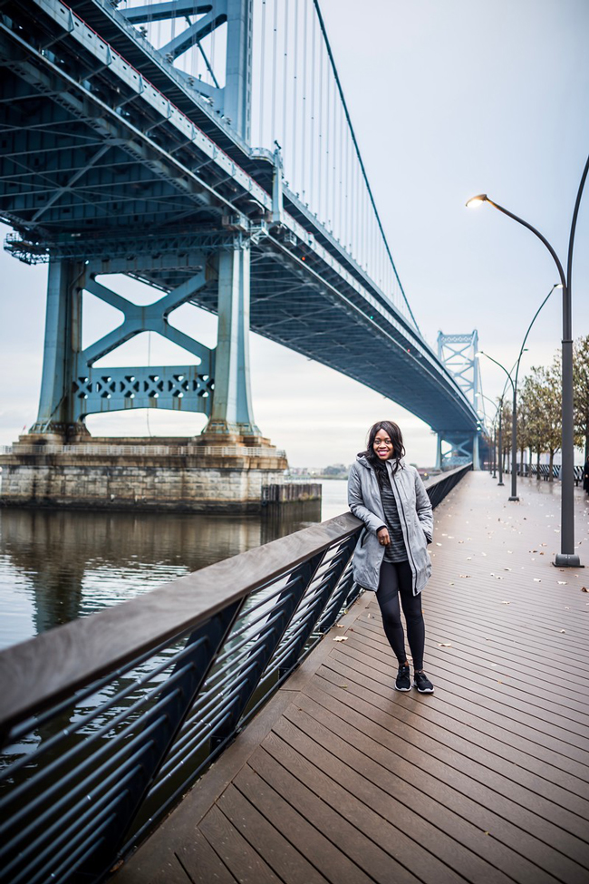 Race Street Pier Philadelphia - Winter Gym Clothes Ideas with Athleta Activewear by Washington DC fashion blogger Alicia Tenise