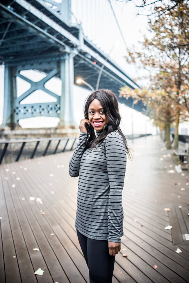 Athleta Striped Turtleneck - Winter Gym Clothes Ideas with Athleta Activewear by Washington DC fashion blogger Alicia Tenise