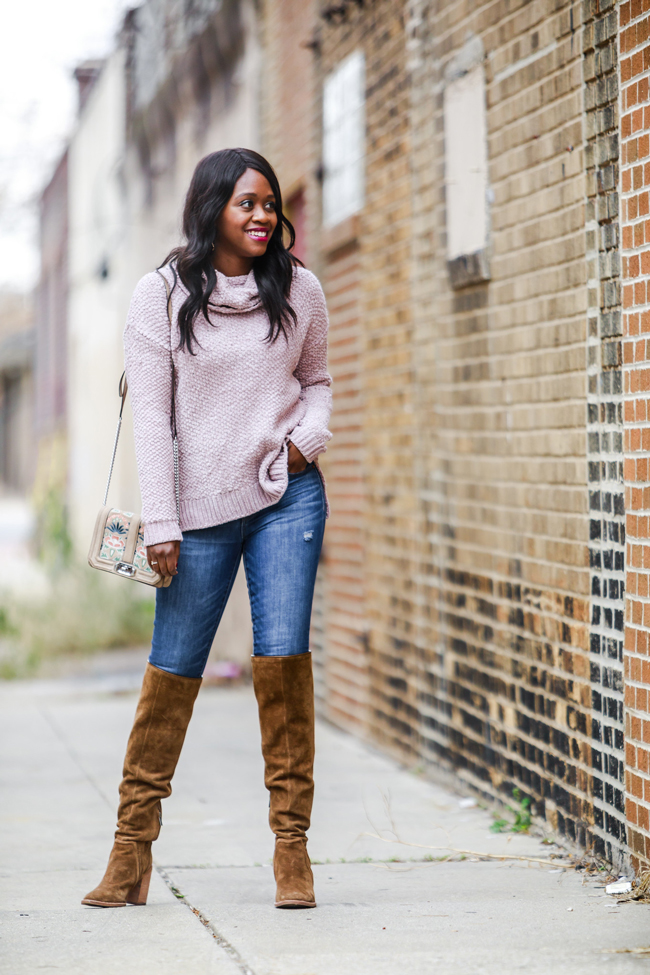 How to Wear Brown Suede Knee High Boots - Two Thanksgiving Outfit Ideas by Washington DC fashion blogger Alicia Tenise