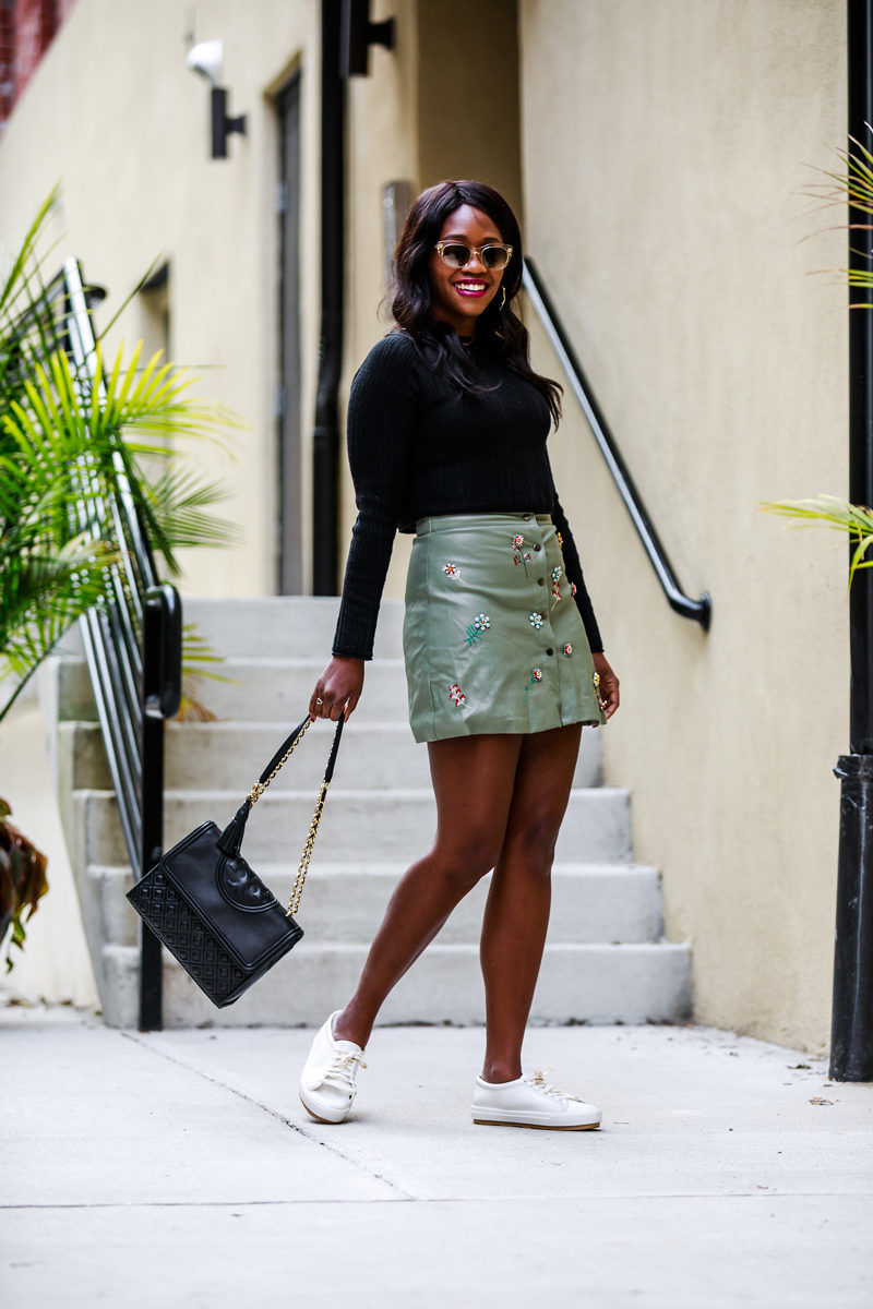 Olive Green Faux Leather Mini Skirt - A Cute Faux Leather Skirt & What I'm Thankful For by Washington DC fashion blogger Alicia Tenise