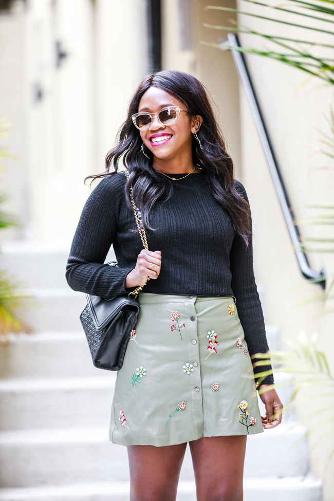 Chicwish Faux Leather Beaded Floral Skier - A Cute Faux Leather Skirt & What I'm Thankful For by Washington DC fashion blogger Alicia Tenise
