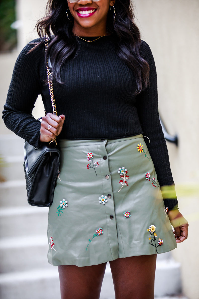 Embellished Faux Leather Skirt - A Cute Faux Leather Skirt & What I'm Thankful For by Washington DC fashion blogger Alicia Tenise