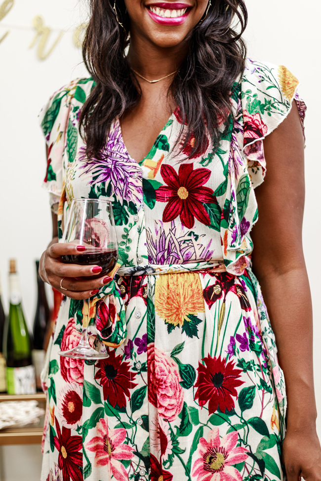 Fall Floral Dress - Two Thanksgiving Outfit Ideas by Washington DC fashion blogger Alicia Tenise