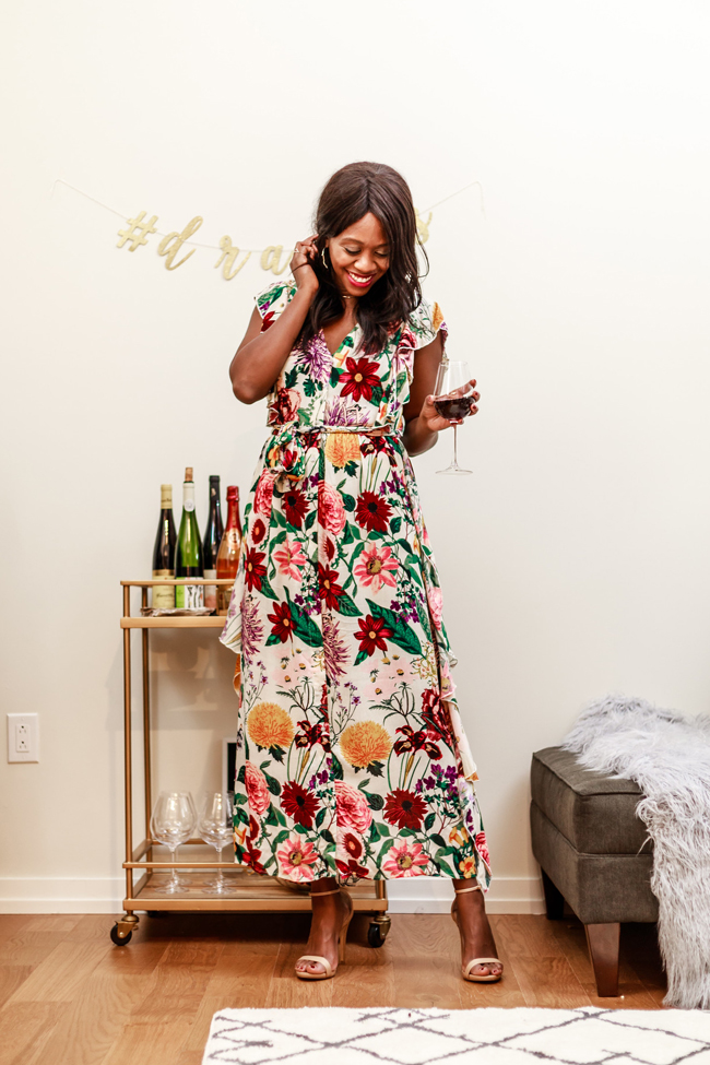 Thanksgiving Bar Cart, Floral Fall Dress - Two Thanksgiving Outfit Ideas by Washington DC fashion blogger Alicia Tenise