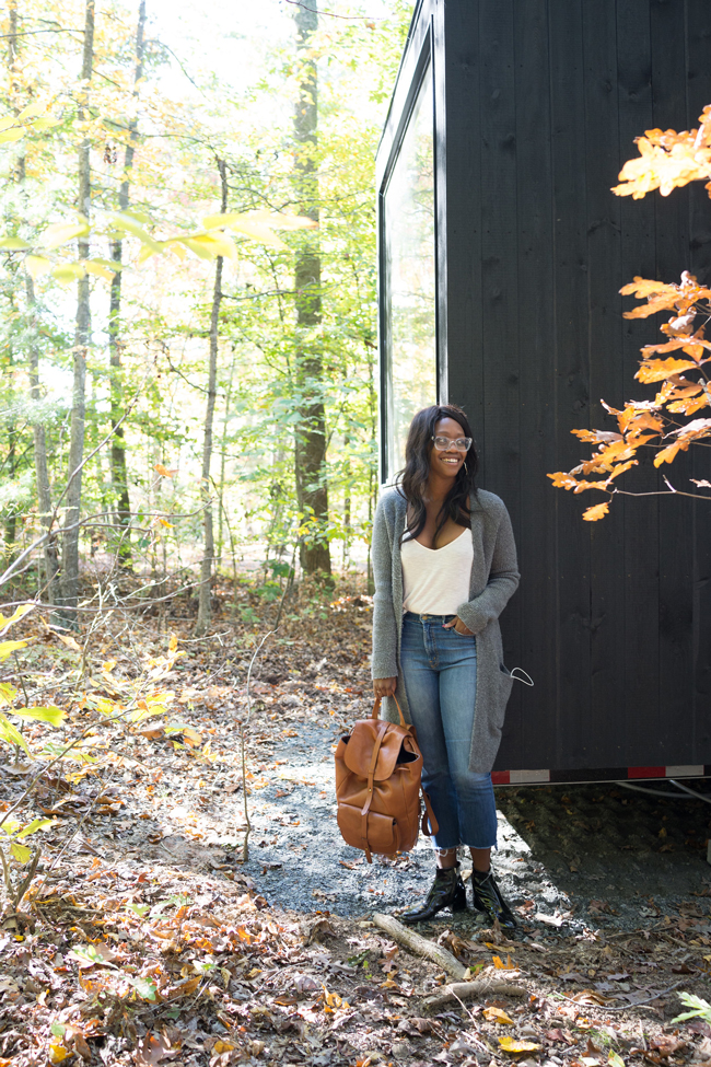 Madewell Cardigan, Madewell Backpack, Cropped Flare Jeans  - I Sort Of Went Glamping with Getaway House (And I Loved It) by Philadelphia travel blogger Alicia Tenise