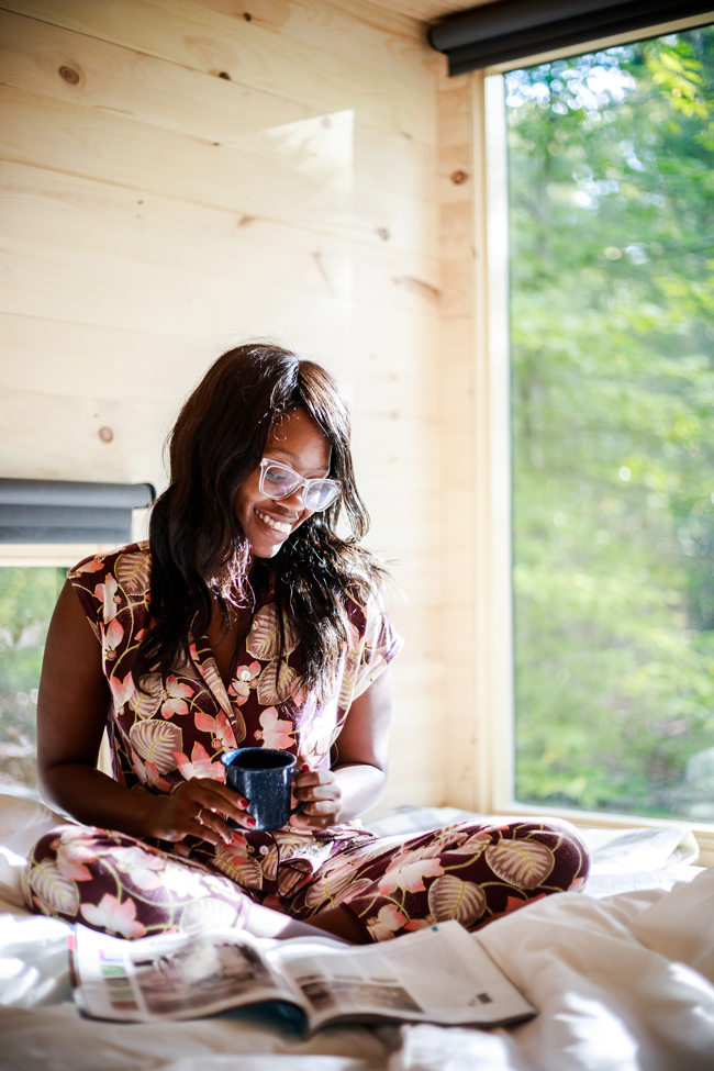 Soma Intimates Cap Sleeve Notch Collar Pajama Top Charmed Floral Merlot - I Sort Of Went Glamping with Getaway House (And I Loved It) by Philadelphia travel blogger Alicia Tenise
