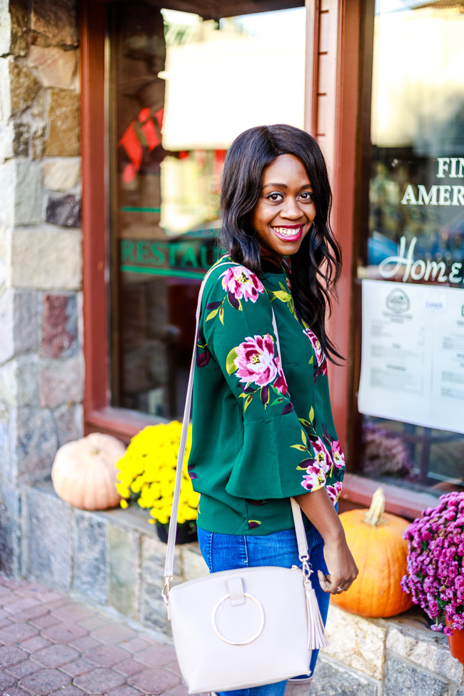 Green Floral Print Blouse for Under $20