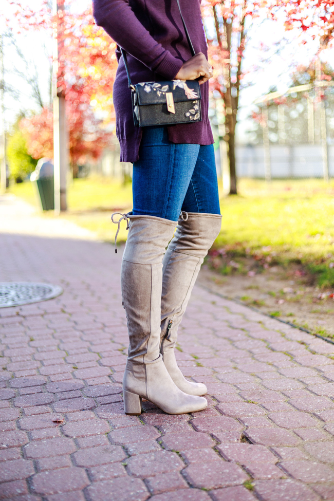 Embroidered Handbag, Tan Over The Knee Boots - Fall Styles with Grey Over the Knee Boots by Washington DC fashion blogger Alicia Tenise