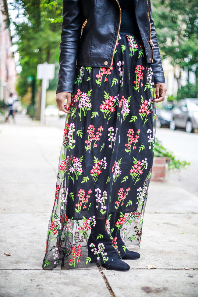 Mesh Floral Embroidered Maxi Skirt