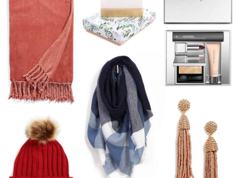The best holiday gifts for under $50 - Holiday Gift Guide for Her Under $50 by Washington DC style blogger Alicia Tenise | Holiday Gifts for Her Under $50 by popular life and style blogger, Alicia Tenise: collage image of tassel earrings, pom pom beanie, scarf, and makeup.