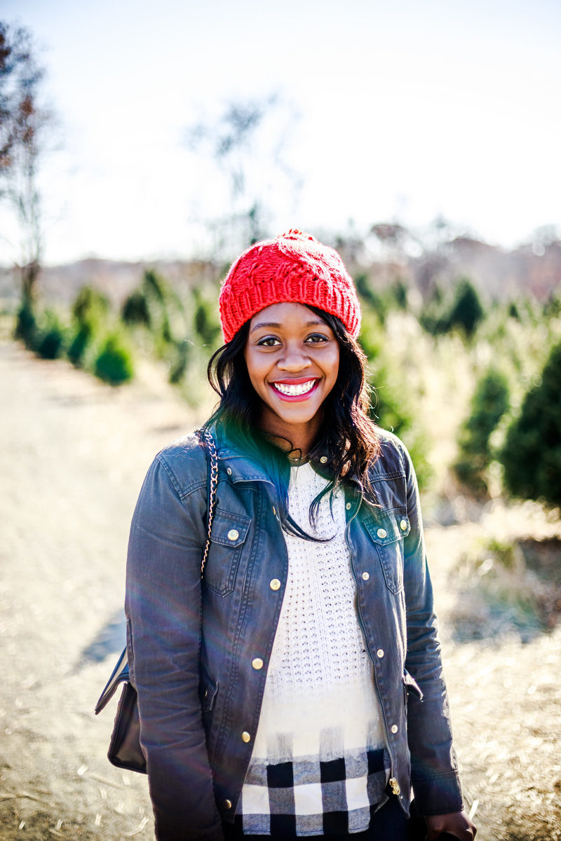 Aerie Pom Beanie in Red - A Casual Christmas Outfit Idea by Washington DC fashion blogger Alicia Tenise