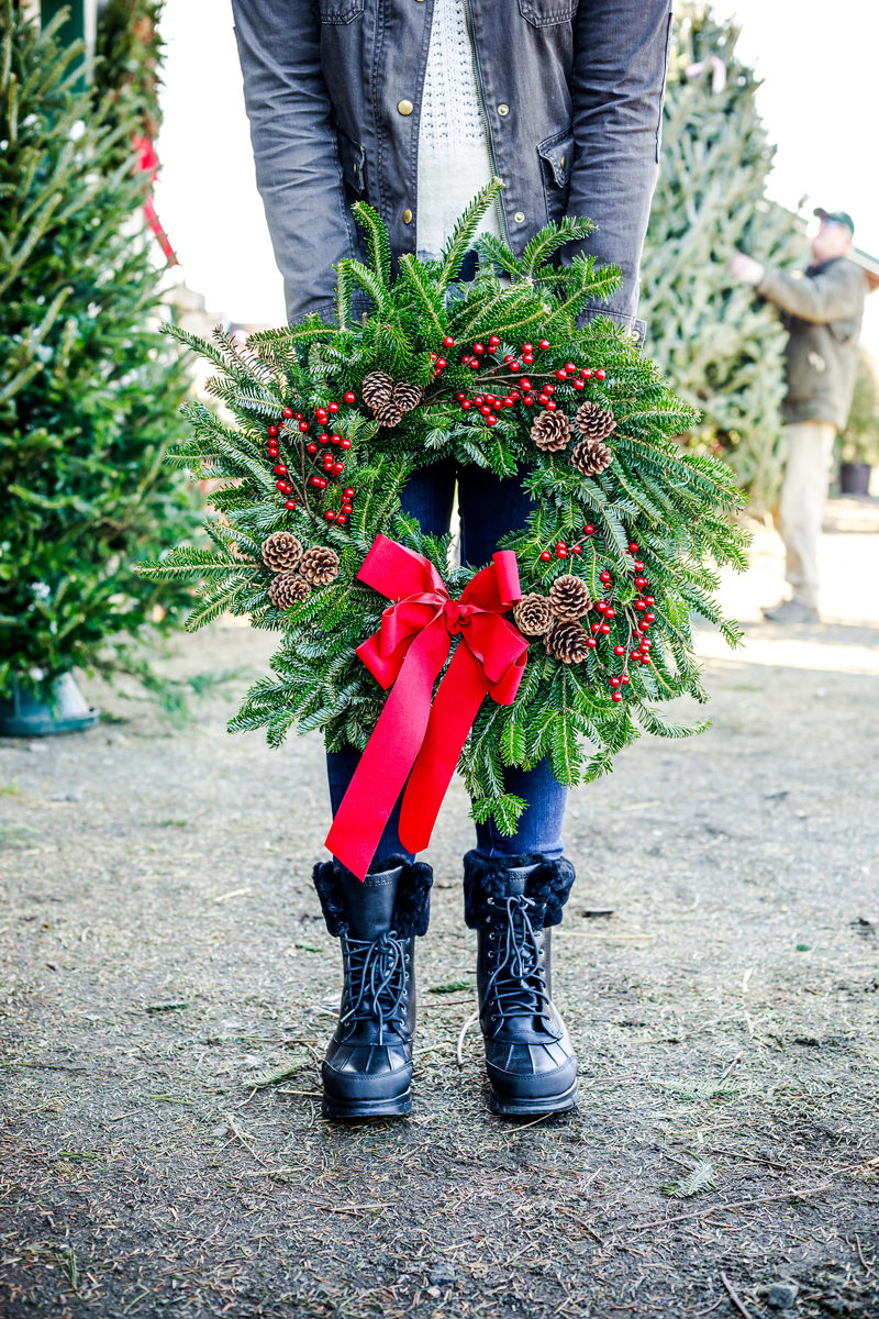 Ralph Lauren Duck Boots, Local Wreath from Spruce Goose Christmas Tree Farm - A Casual Christmas Outfit Idea by Washington DC fashion blogger Alicia Tenise