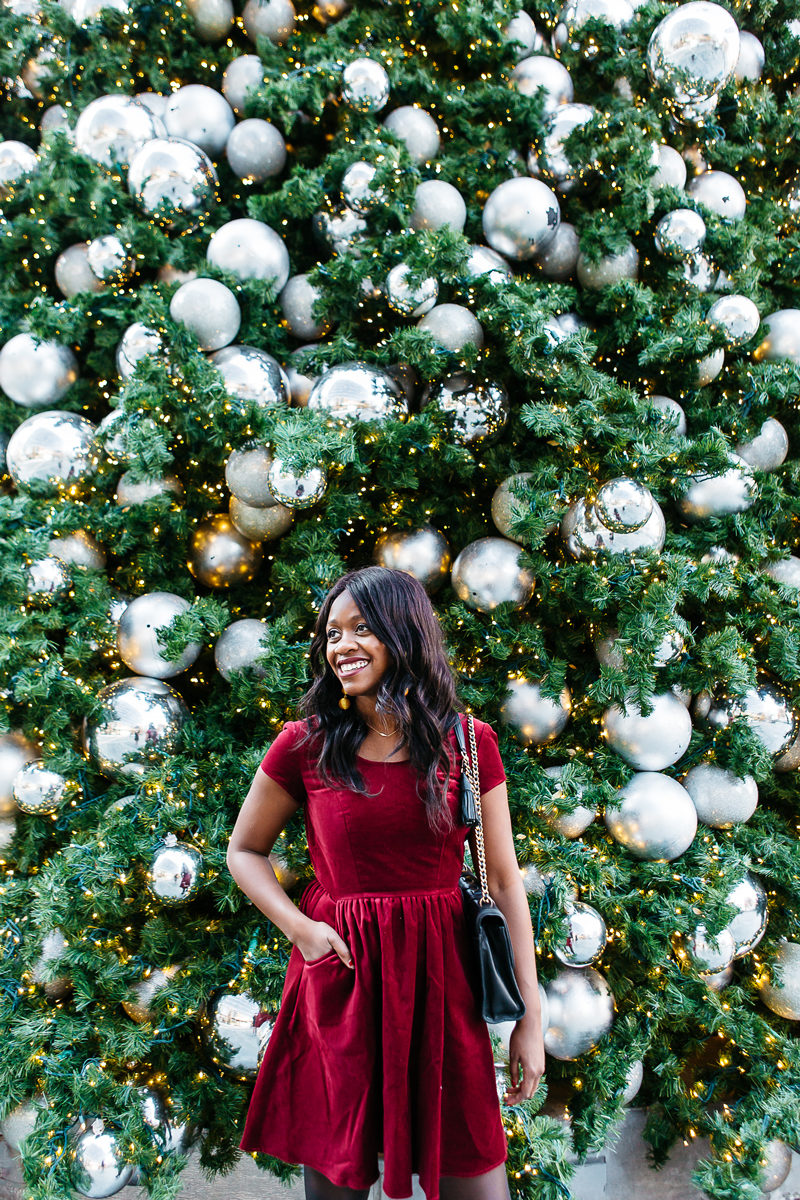 Lauren James Velvet Sheridan Dress - The Perfect Christmas Outfit for a Dressy Family Christmas Eve by Washington DC fashion blogger Alicia Tenise