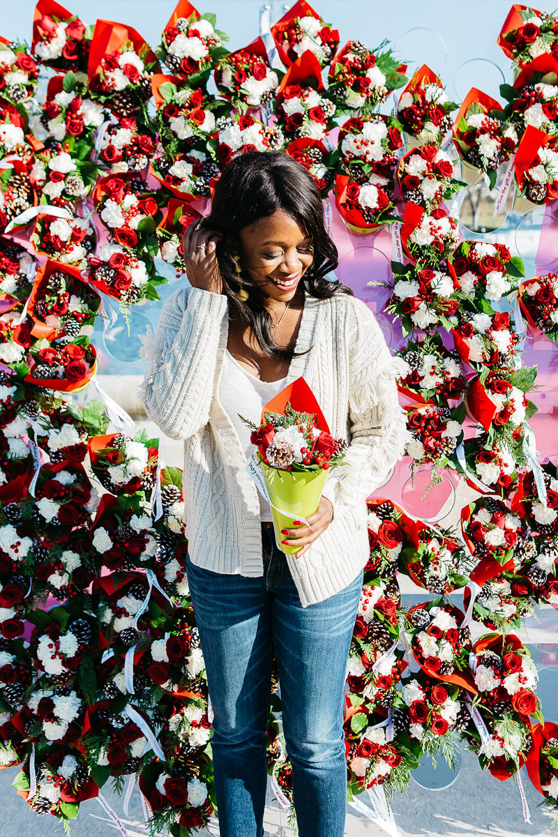 Madewell Fringe Cardigan, Teleflora Love Out Loud - Spreading Cheer This Holiday Season by Washington DC blogger Alicia Tenise