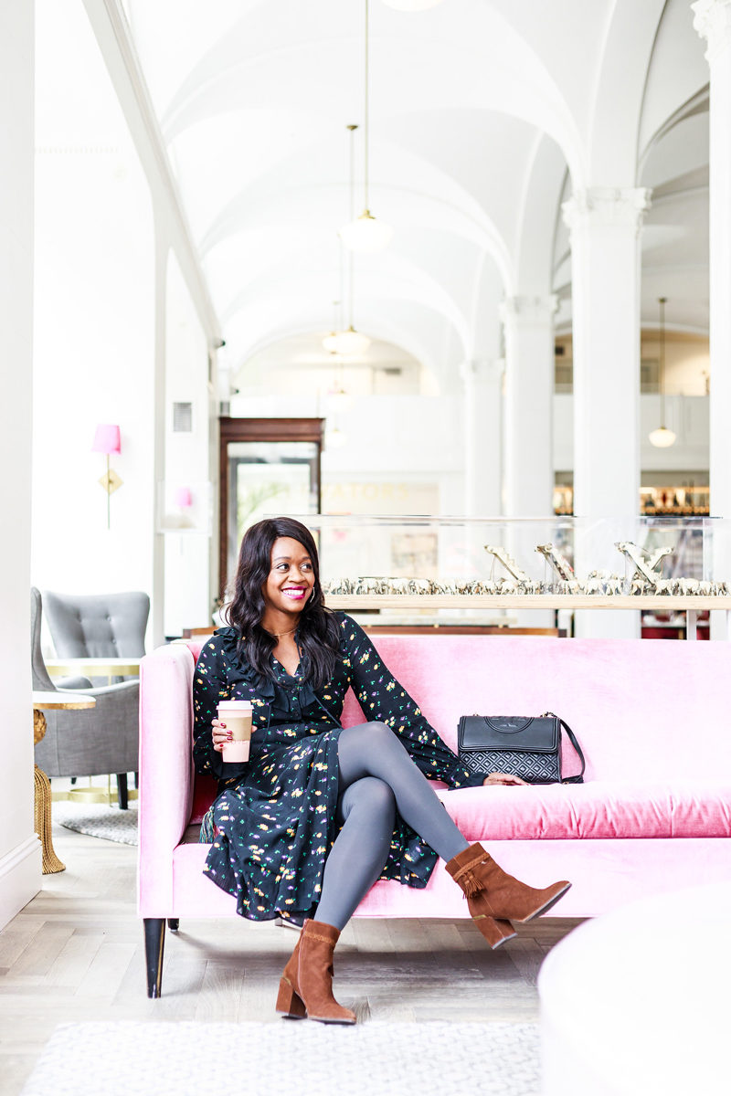 How to Wear Grey Tights, Blue Floral Maxi Dress, Quirk Hotel Richmond VA - How to Get Out of a Winter Style Rut by popular Washington DC style blogger Alicia Tenise