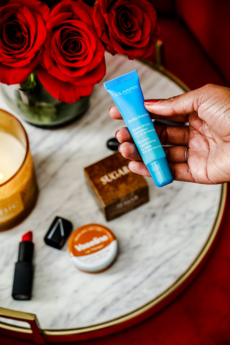 Clarins Hydra Essentiel Lip Balm, Best Lip Products for Winter - How to Combat Winter Dry Lips by popular Washington beauty blogger Alicia Tenise