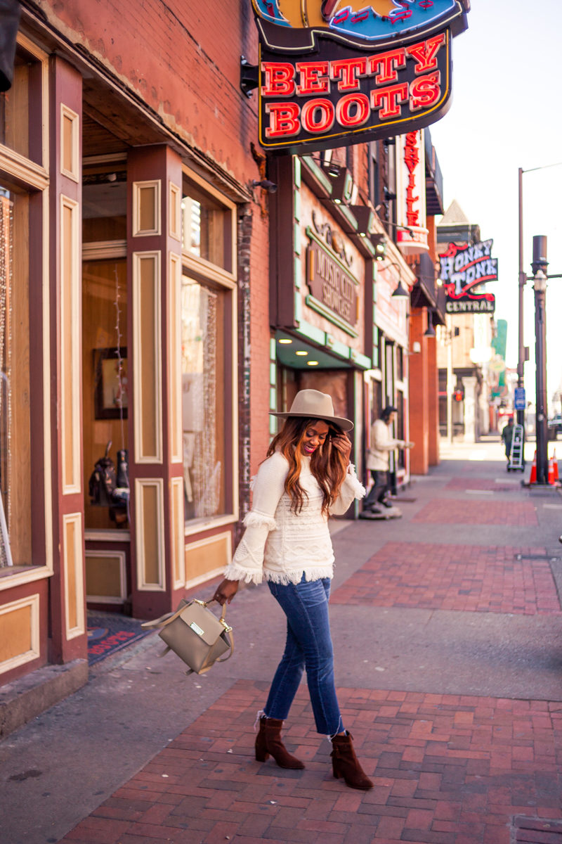 How to Style a Fringe Sweater - My Travel Bucket List for 2018 by popular DC travel blogger Alicia Tenise