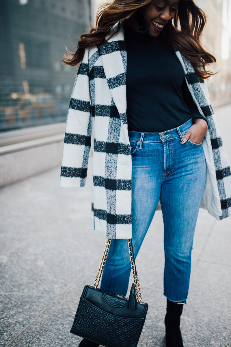 Plaid Coat Trend, Cropped Denim, Quilted Handbag - NYFW for the Right Reasons by popular DC style blogger Alicia Tenise