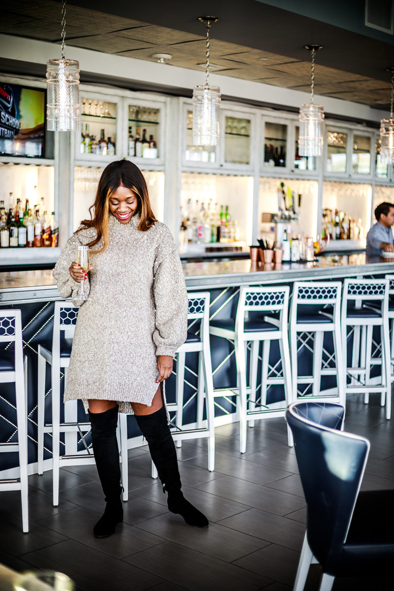 How to wear a sweater dress and over the knee boots - Being in a Long Distance Relationship by popular Washington DC style blogger Alicia Tenise