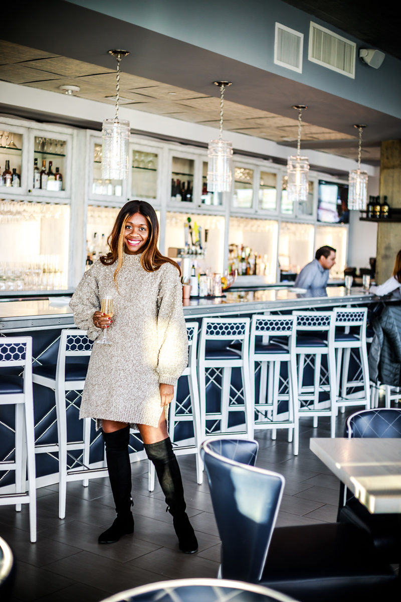 Chicwish Radiant Pearls Knit Longline Sweater in Tan, How to Wear Over the Knee Boots - Hotel Indigo Old Town Alexandria review by popular DC blogger Alicia Tenise