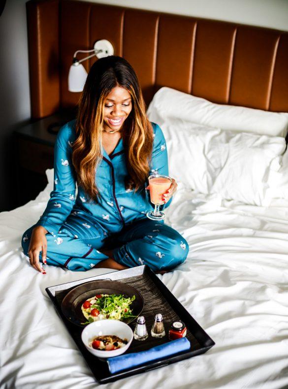 Soma Intimates Satin Pajamas, Hotel Indigo Hummingbird Room Service - Hotel Indigo Old Town Alexandria review by popular DC blogger Alicia Tenise