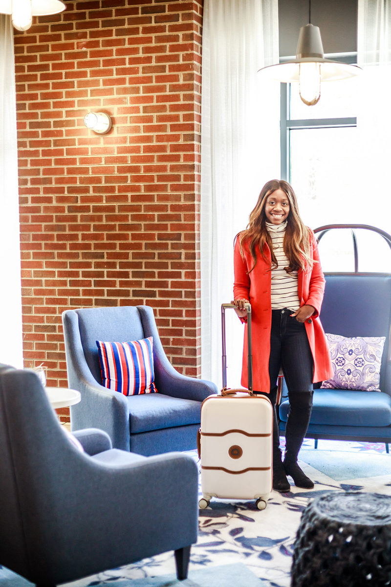 "Delsey Chatelet Plus 21"" Carry-On Hardside Spinner Suitcase, J.Crew Lady Day Coat - Hotel Indigo Old Town Alexandria review by popular DC blogger Alicia Tenise"