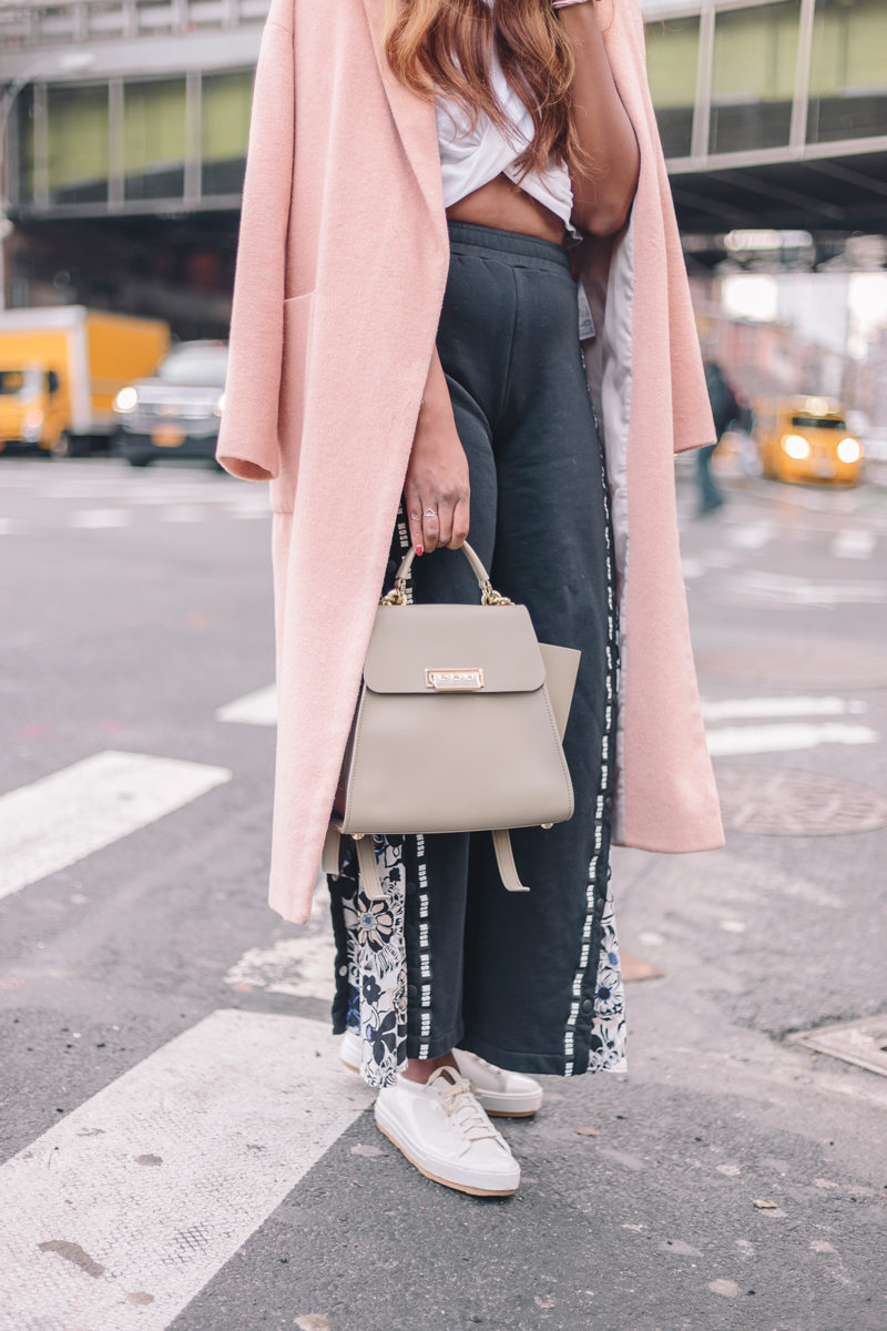 Melissa Be Sneaker, Pink Maxi Coat, How to Wear the Track Pant Trend