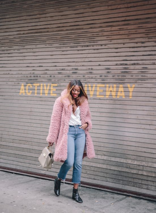 Pink Faux Fur Coat by popular Washington DC style blogger Alicia Tenise